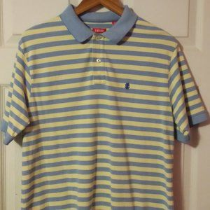 Izod Polo Shirt Blue and Yellow Striped Size Large